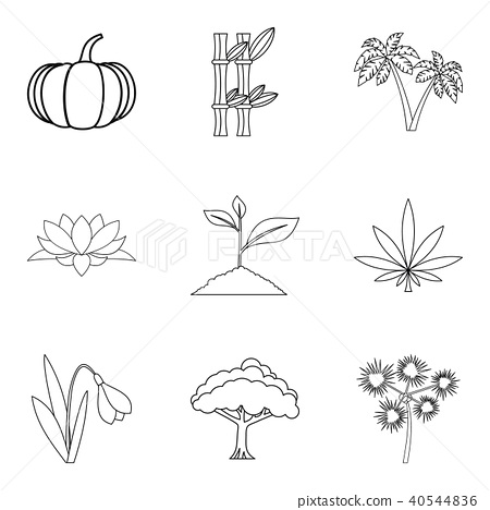 World of plant icons set, outline style 40544836