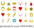 Jewerly icon set, flat style 40544961