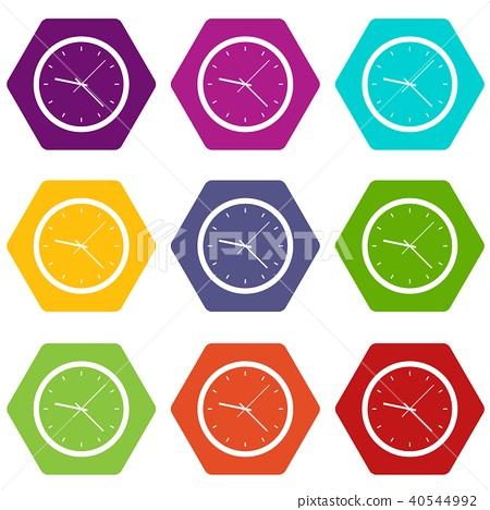 Wall clock icon set color hexahedron 40544992