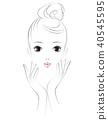 裸露的女性面孔。美女形象。 40545595