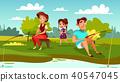 family fishing vector 40547045