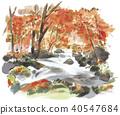 Oirase mountain stream autumn leaves image 40547684