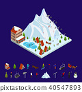 Ski Resort Concept and Elements 3d Isometric View. Vector 40547893