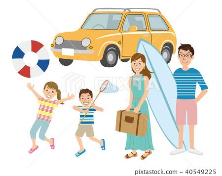 Family of four, sea, travel 40549225