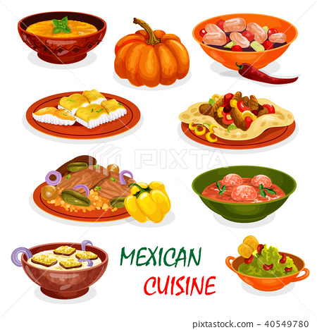 Mexican cuisine icon of dinner dish and appetizers 40549780