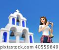 3D 일러스트 -에게 해의 경치를 사진으로 찍어 여성 40559649