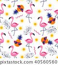 Seamless pattern with pink flamingos bird 40560560