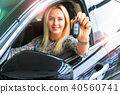 Happy woman driver holding auto keys in her car 40560741
