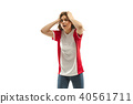 The unhappy and sad French fan on white background 40561711