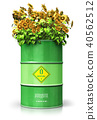 Green biofuel drum with sunflowers isolated white 40562512