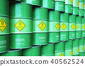 Group of rows of green stacked biofuel drums 40562524
