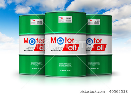 Group of barrels with motor oil lubricant 40562538