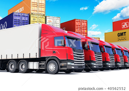 Row of cargo trucks at the sea port 40562552