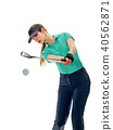 woman golfer golfing isolated 40562871