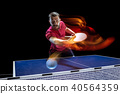 The table tennis player serving 40564359