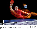 The table tennis player serving 40564444