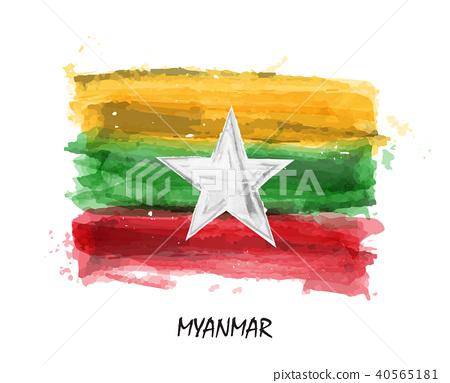 Realistic watercolor painting flag of Myanmar  40565181