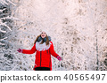 Young Beautiful Pretty Caucasian Girl Woman Dressed In Red Jacket 40565497