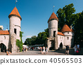 Tallinn, Estonia. People Walking Near Famous Landmark Viru Gate  40565503