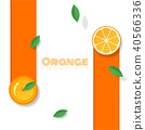 Fresh orange fruit background in paper art style 40566336