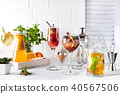 Set of classic cocktails with Bar accessories on white wooden backgorund 40567506