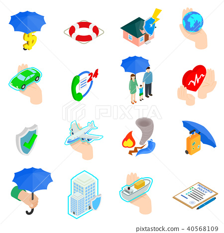 Insurance Icons set, isometric 3d style 40568109