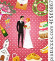 Newlyweds card. Bride And Groom. Wedding ceremony. Valentines Day. vector illustration. Love concept 40569867