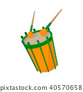 Drum and drumsticks icon, cartoon style  40570658
