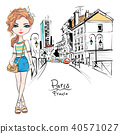 Vector fashion girl in summer clothes in Paris 40571027