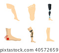 Foot icon set, flat style 40572659