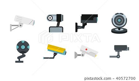 Security camera icon set, flat style 40572700