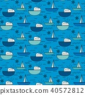 Hand Drawn Fishing Boat Pattern Background.  40572812