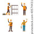 Builder icon set, cartoon style 40574431
