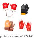 Winter gloves icon set, cartoon style 40574441