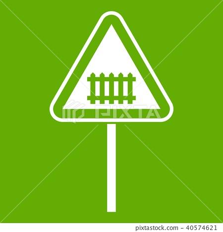 Warning road sign icon green 40574621