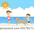 孩子們在沙灘上玩耍 40578271