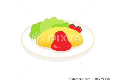 矢量 大米煎蛋 蛋包飯 40579456