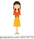 便衣的年輕女人哭的插圖素材 40579770