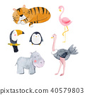 Watercolor animal vector set 40579803
