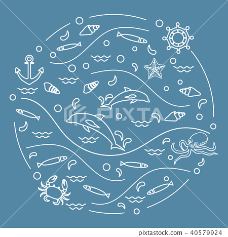 dolphins, octopus, fish, anchor, helm, waves, 40579924