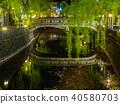 大磯河和柳樹流向城崎溫泉 40580703