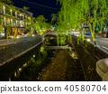 大磯河和柳樹流向城崎溫泉 40580704