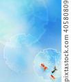 日本背景 - 日本紙藍色金魚 40580809