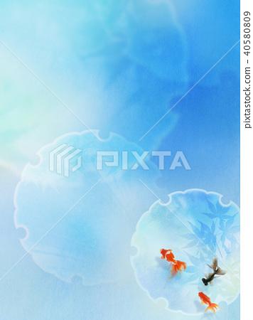 日本背景 - 日本纸蓝色金鱼 40580809