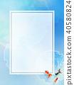日本背景 - 日本纸蓝色金鱼 40580824