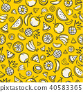 Tropical fruits seamless summer pattern background 40583365