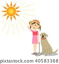 女孩中暑测量狗步行 40583368