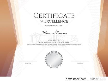 Certificate Template Border Frame Diploma Design Stock