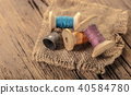colored threads and thimble 40584780