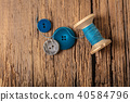 spool of threads and buttons 40584796